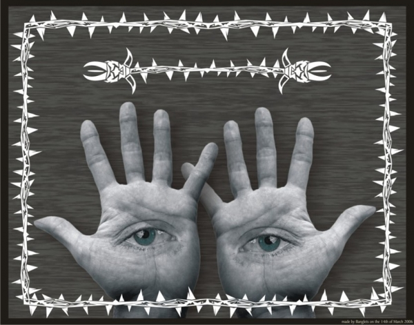 Photomontage Hands with eyes