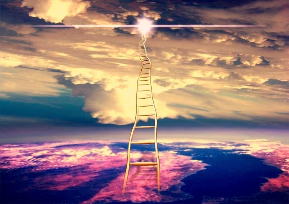 montaje fotogr fico escalera hacia el cielo con tintes